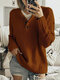 Women Solid Color Button Loose Long Sleeve Casual Sweater - Brown