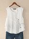 Button Embroidery O-neck Sleeveless Patchwork Vintage Tank Top - White