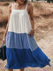Contrast Color Sleeveless Backless Pocket Loose Casual Dress For Women - Blue