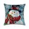 Christmas Snowman Printing Cotton Linen Cushion Cover Home Decorative Pillowcase