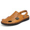 Men Closed Toe Hand Stitching Outdoor Beach Water Sandals - Brown