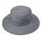メンズレディースシルクバイザーバケットハットフィッシャーマンハットアジャスタブルチンストラップ折りたたみ帽子 - グレー