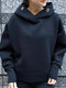 Fashion Solid Color Long Sleeve Slit Plus Size Hoodie for Women - Black