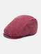 Men Distressed Cotton Solid Broken Hole Retro Casual Sun Protection Berets Flat Caps - Wine Red