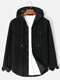 Mens Corduroy Solid Button Flap Pocket Long Sleeve Hooded Shirts - Black