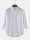 Mens Cotton & Linen Solid Color Thin Casual Long Sleeve Shirts With Pocket - White