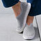Women Solid Color Hollow Brathable Non Slip Casual Shoes - Grey