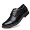 Men Cap Toe Leather Non Slip Large Size Casual Formal Shoes - Black