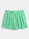 Mens Holiday Pinstripe Swim Trunks With Mesh Briefs Liner - Green