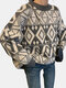Geometric Print O-neck Long Sleeve Loose Casual Sweater for Women - Gray