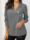 Button Solid Color Long Sleeve Lapel Casual Blouse For Women - Grey