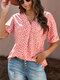 Leopard Print V-neck Loose Short Sleeve Women Blouse - Red