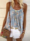 Floral Print Loose Straps Tank Tops For Women - Grey
