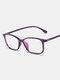Square Frame Men Anti-Blue Flat Mirror Glasses Ultra-Light Women Computer Goggles - Purple