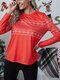 Christmas Elk Print Long Sleeve Casual T-shirt For Women - Red