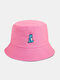 Unisex Cotton Solid Color Cartoon Little Dinosaur Embroidery All-match Sun Protection Bucket Hat - Rose