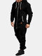 Mens Solid Color Fleece Zipper Front Jumpsuit Home Lounge Hooded Onesies With Pocket - Black