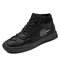 Hombre Anti Collision Toe Hand Stithcing Sock Leather Botas - Negro
