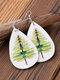 Ethnic Drop-Shaped Women Earrings Christmas Tree Dragonfly Leopard Pendant Earrings - White