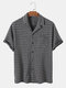 Mens Striped Texture Button Up Casual Short Sleeve Shirts With Pocket - Black