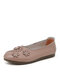 Women Solid Color Floral Decor Carved Single Shoes Comfy Stitching Flats - Gray