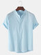 Mens Breathable Flax Stand Collar Solid Color Short Sleeve Shirt - Light Blue