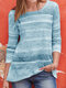 Colorful Striped O-neck Long Sleeve Casual Blouse - Blue