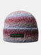 Women & Men Tie-dye Color Gradient Mixed Color Warm Ear Protection Brimless Beanie Knitted Hat - #06