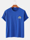 Mens Solid Color Rainbow Print Breathable & Thin O-Neck T-Shirts - Blue