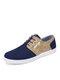 Men Casual Lace-up Patchwork Soft Non Slip Comfy Old Peking Shoes - Blue