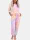 Tie-dye Printed Long Sleeve Two-pices Casual Sweatsuit - Pink