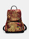 Women Ethnic Pattern Sequined Embroidered Peacock Backpack - Wine Red