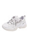 Women Casual Lace Up Sequined Splicing Chunky Sneaker Shoes - Grey