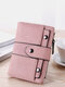 Women Spring Vintage Money Clips Coin Multi-card Slots Rivet Trifold Wallet Purse - Pink