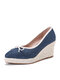 Women Casual Soild Color Bowknot Design Breathable Wedges Heel Espadrille Loafers Shoes - Blue