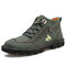 Men Work Style Hand Stitching Microfiber Leather Ankle Boots Boots - Green