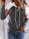 Contrast Color Patchwork Long Sleeve Casual Hoodie For Women - Dark Gray