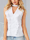 Ruffle Solid Color Sleeveless V-neck Casual Blouse For Women - White