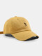 Unisex Cotton Solid Color Simple Strokes Figure Embroidery All-match Sunshade Baseball Cap - Yellow