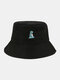 Unisex Cotton Solid Color Cartoon Little Dinosaur Embroidery All-match Sun Protection Bucket Hat - Black