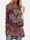 Vintage Dragonfly Printed O-neck Long T-shirt For Women - Rose