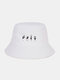 Unisex Cotton Letters Gesture Pattern Print All-match Sunscreen Bucket Hat - White