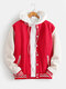 Mens Classical Plus Velvet Patchwork Thick Casual Loose Cotton Baseball Uniform Jacket - Red