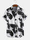Mens Chinese Style Ink Painting Breathable Short Sleeve Shirts - Black