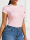 Solid Color Short Sleeve Casual Base Shirt Bodycorn Jumpsuit for Women - Pink