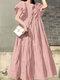 Einfarbig Short Puff Sleeve Plissee Casual Loose Kleid - Rosa