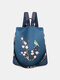 Women Multi-carry Embroidered Anti-theft Waterproof Travel Backpack Crossbody Bag - Blue