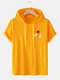 Mens Hooded Rose Letter Print Short Sleeve Casual T-Shirt - Yellow
