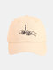 Unisex Cotton Solid Color Letter Gesture Pattern Embroidery All-match Fashion Baseball Cap - Beige