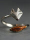 Vintage Trendy Little Fox Opening Adjustable Alloy Rings - Silver